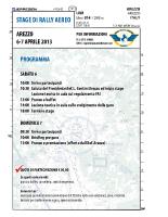 Stage Arezzo 2013 – Programma Stage Rally Aereo 2013